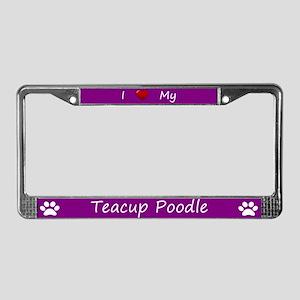 Purple I Love My Teacup Poodle License Plate Frame