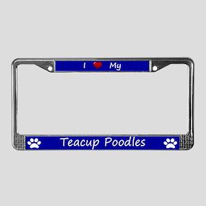 Blue I Love My Teacup Poodles License Plate Frame