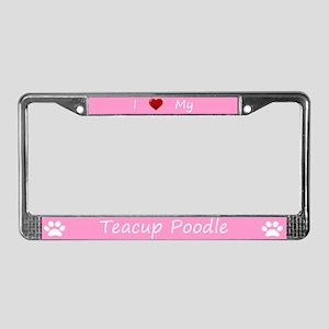 Pink I Love My Teacup Poodle License Plate Frame