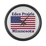 Eden Prairie Flag Large Wall Clock