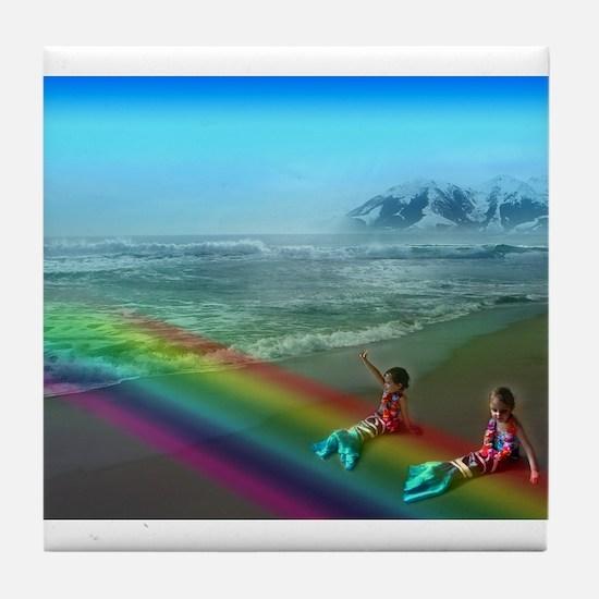 Funny Rainbow mountain Tile Coaster