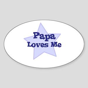 Papa Loves Me Oval Sticker