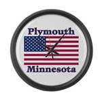 Plymouth Flag Large Wall Clock