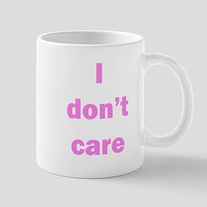 """""""I don't care"""" mug, purple lettering"""