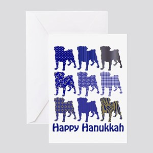 Hanukkah Pugs Greeting Card