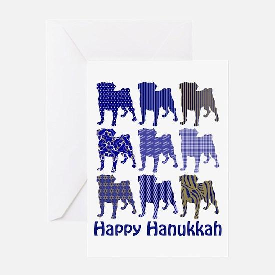 Hanukkah Pugs Greeting Card