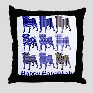 Hanukkah Pugs Throw Pillow
