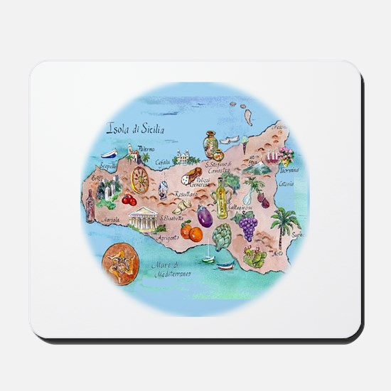 Map Of Sicily Mousepad