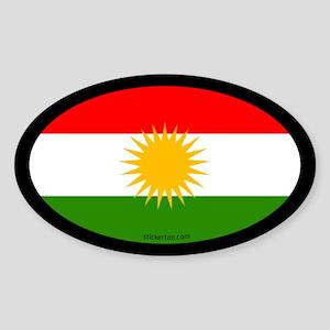 Kurdish Flag Oval Sticker