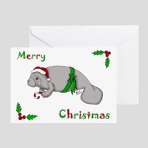 Christmas Manatee Greeting Card