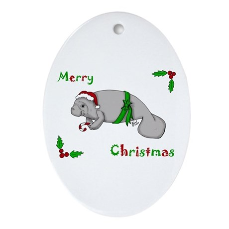 Christmas Manatee Oval Ornament