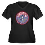 USS BETELGEU Women's Plus Size V-Neck Dark T-Shirt