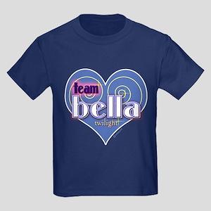 Team Bella Big Blue Heart Kids Dark T-Shirt