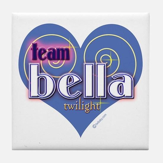 Team Bella Big Blue Heart Tile Coaster