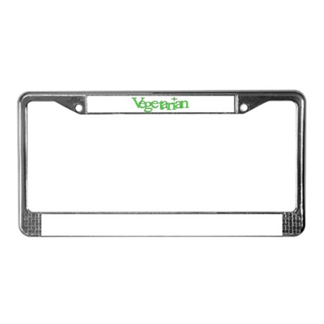 Green Star Vegetarian License Plate Frame