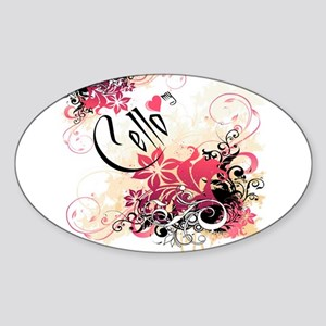 Heart My Cello Oval Sticker