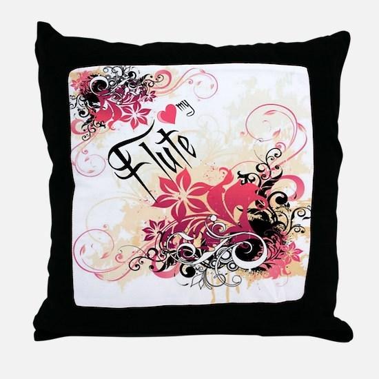 Heart My Flute Throw Pillow