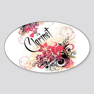 Heart My Clarinet Oval Sticker