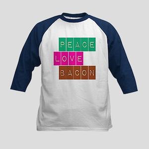 Peace Love and Bacon Kids Baseball Jersey