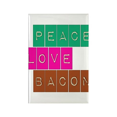 Peace Love and Bacon Rectangle Magnet (100 pack)
