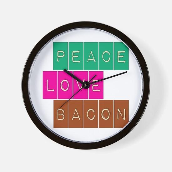 Peace Love and Bacon Wall Clock