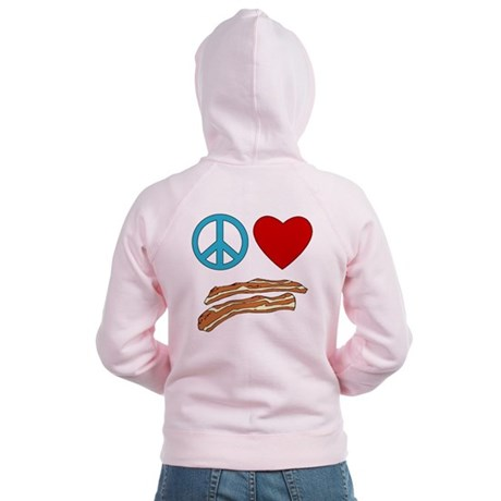 Peace Love Bacon Symbology Women's Zip Hoodie