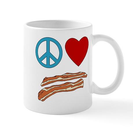 Peace Love Bacon Symbology Mug