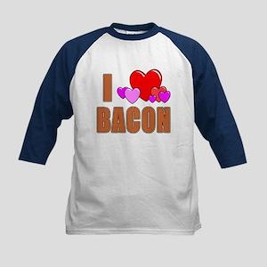 I Love Bacon Kids Baseball Jersey