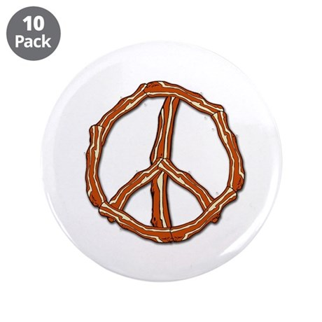 """Bacon Peace Sign 3.5"""" Button (10 pack)"""