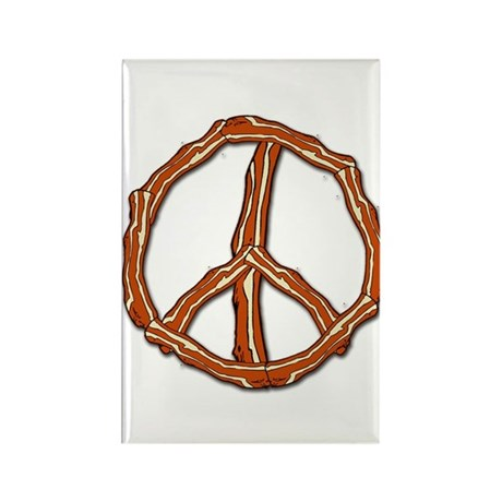 Bacon Peace Sign Rectangle Magnet (10 pack)