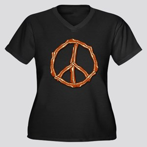 Bacon Peace Sign Women's Plus Size V-Neck Dark T-S