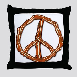 Bacon Peace Sign Throw Pillow