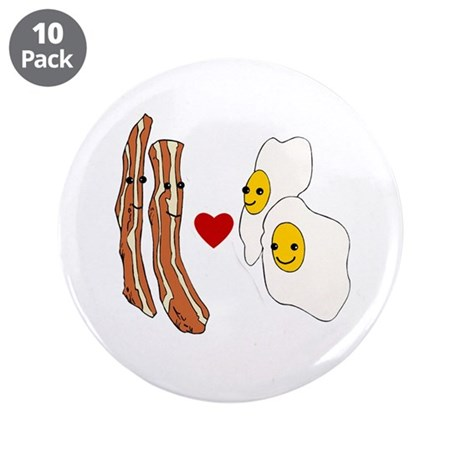 """Bacon Loves Eggs 3.5"""" Button (10 pack)"""