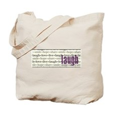LAUGH Inspirational Collage Tote Bag