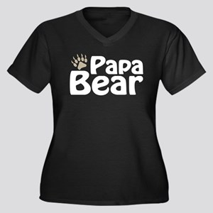 Papa Bear Claw Women's Plus Size V-Neck Dark T-Shi
