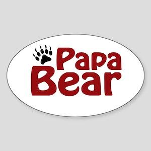 Papa Bear Claw Oval Sticker