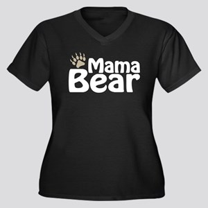 Mama Bear Claw Women's Plus Size V-Neck Dark T-Shi