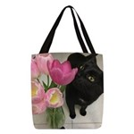 Cat with Tulips Polyester Tote Bag