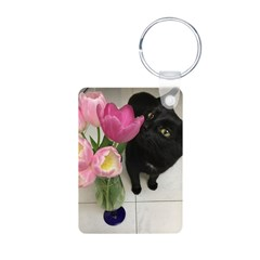 Cat with Tulips Keychains