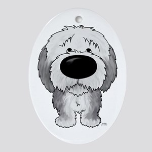 Big Nose Sheepdog Oval Ornament