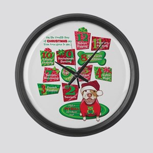 12 Dogs of Christmas Large Wall Clock