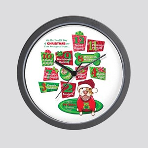12 Dogs of Christmas Wall Clock