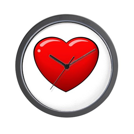 Valentines Red Heart Wall Clock