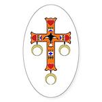 American Indian Cross Oval Sticker (10 pk)