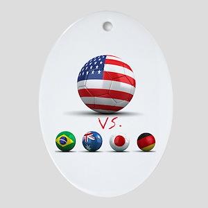 USA vs The World Oval Ornament