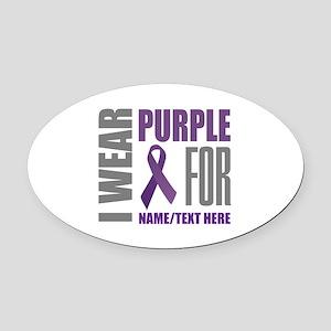 Purple Ribbon Awareness Customized Oval Car Magnet