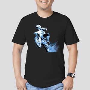 Blue Dirtbike Wheeling in Mud Men's Fitted T-Shirt
