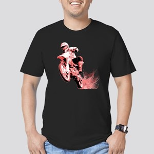 Red Dirtbike Wheeling in Mud Men's Fitted T-Shirt