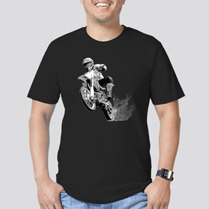 Dirtbike Wheeling in Mud Men's Fitted T-Shirt (dar