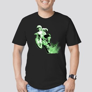 Green Dirtbike Wheeling in Mud Men's Fitted T-Shir